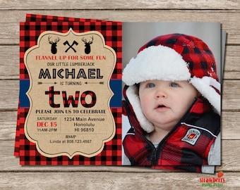 Lumberjack Birthday Invitation, Photo Invitation, Moose Buffalo Plaid Birthday Invitation, Red Plaid, Boy Winter Birthday Invitation, A62