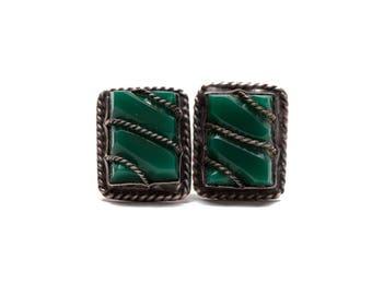 Vintage Green Stone Earrings, 1950's Earrings, Vintage Earrings, Estate Earrings, Green Vintage Earrings, Screw Back Earrings