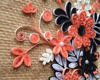 Modern home decoration 3Dwall art wall decor quilling art work floral wall hanging quilling wall art ,Christmas gift, paper quilled