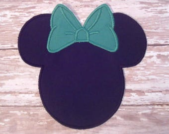 Minnie Mouse Applique - Green Bow - Embroidered Applique - Iron On - Ready To Ship