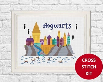 Hogwarts Cross Stitch Pattern, Harry Potter Cross Stitch Pattern, Hogwarts School, Hogwarts, Beginners Cross Stitch, Modern Cross Stitch Kit