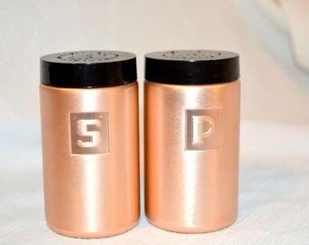 Vintage Aluminum Copper Salt and Pepper Shakers - Mid Century Modern