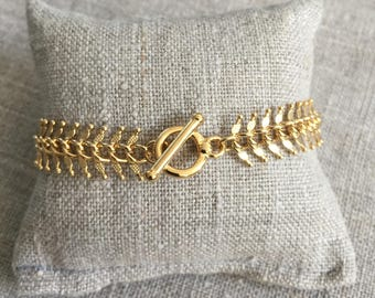 Plated Gold - Mesh spike gold plated toggle clasp Bracelet - Bohemian Style