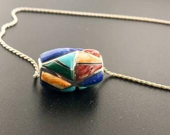 Rainbow Colored Stone Pendat