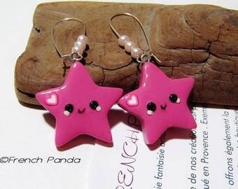 Stars kawaii polymer clay earrings