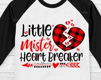 Little Mister Heart Breaker SVG, Boys Valentines svg, Kids Valentines svg, Valentine Onesie svg, Broken Heart svg, Cute baby svg