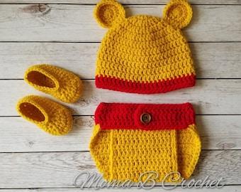 Crochet Bear Baby Set, Bear Baby Set, Winnie the Pooh Hat, Winnie the Pooh Baby Shower, Winnie the Pooh Baby Set