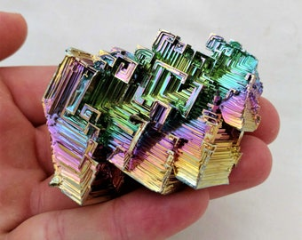 Rainbow Bismuth Crystal 139g Lab Grown Jewelry Display Specimen Educational Metaphysical Metal Healing Stone