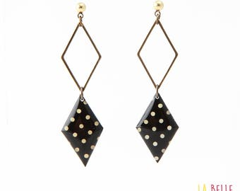 double Stud Earrings resin medallion pattern black dots, diamond