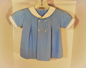 Vintage Baby Dress with Blue & White Fabric - Worn by Owner as a Baby (Very Beautiful!) No Visible Markings for Maker