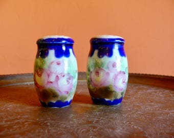 Antique Hand Painted Porcelain Flow Blue Salt & Pepper Shakers, Flow Blue Painted Roses, Royal Nippon, Country Farmhouse Victorian Tabletop