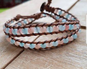 Leather bracelet with Aventurine light blue & Pink