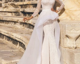 Gorgeous Mermaid Lace Wedding Dress Detachable Train