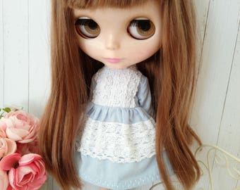 Blythe outfit dress hand made blue dress lace outfit miniature doll clothing 1/6 scale vinage style