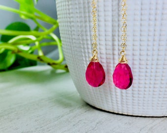 Pomegranate Quartz Briolette Earrings