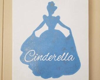 Princess Cinderella Hand Painted 9X12 Canvas Art