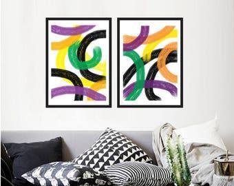 Set of 2 Printable wall art modern geometric print Home decor printable prints