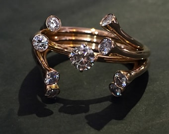 diamonds and rose gold contemporary ring