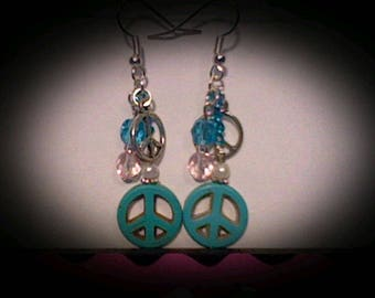 Peace sign funky earrings. Turquoise magnesite charm w/pink & white accent beads.