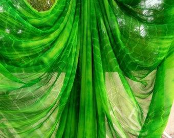 Platinum chiffon hand dyed saree