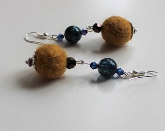 Mustard and blue pompom Drop Earrings, boho,hippie,gypsy