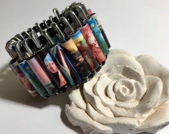 CIJ Original elastic bracelet with drawings of famous paintings made with paper beads, handmade jewelry, gift idea, gift for her