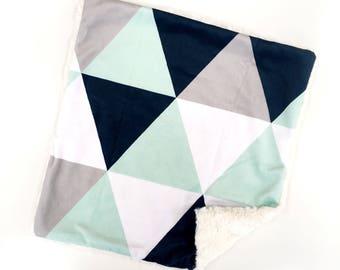 Geometric Baby Blanket, Geometric Lovey, Minky Baby Blanket, Baby Boy, Modern Baby Blanket