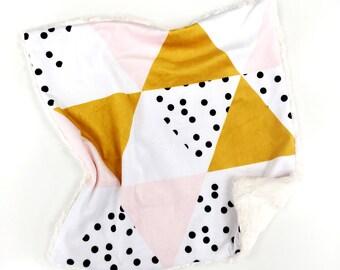 Geometric Baby Blanket, Geometric Lovey, Minky Baby Blanket, Baby Girl, Modern Baby Blanket