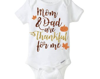 Girl's Mom and Dad are Thankful for Me glitter thanksgiving bodysuit shirt top