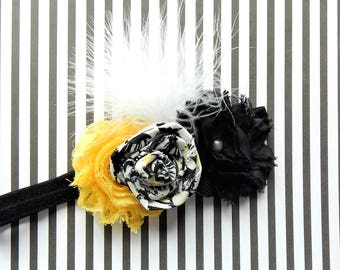 Girls Black & Yellow Headband, Photo Prop, Baby Floral Headbands, Newborn Black Yellow White Headband, Hair Bows, Toddler Hair Bow
