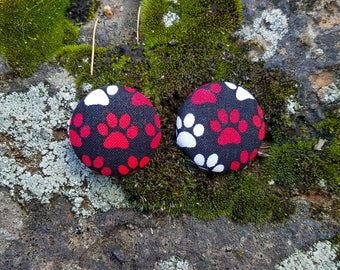 Black/Red/White Dog Paws, Paws of Love Dog Mom Button Earrings