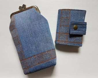 Squares eyeglass case and cardholder set from recycled jeans with free motion quilting decoration