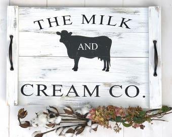 The Milk & Cream Co   Vintage Wood Tray   Farmhouse Decor   Farmhouse Tray, Wood Tray With Handles, ,Serving Tray, Coffee Table Tray