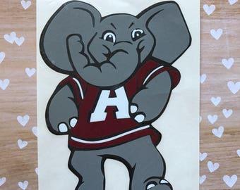 University of Alabama Football-Big Al Elephant-Roll Tide-Crimson Tide-Iron On-Dorm Decor-Car Decal-College-