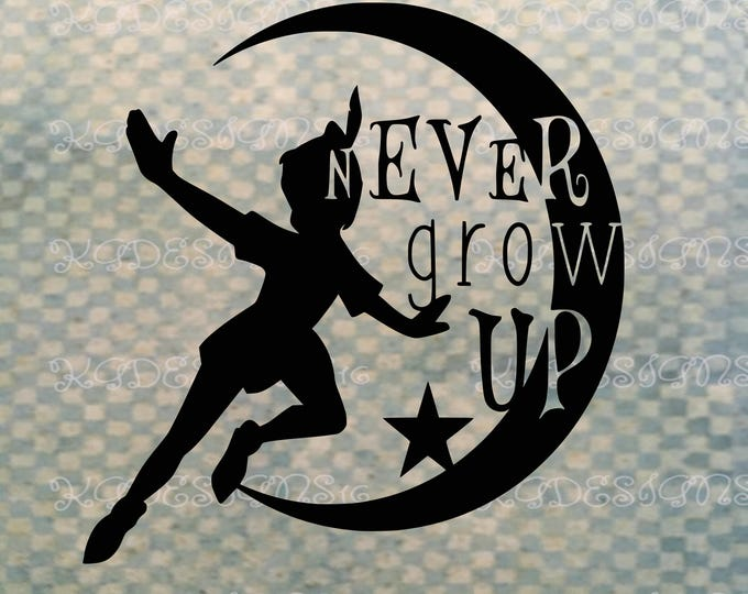 Never Grow Up-Peter Pan Silhouette-Peter Pan Decal-Lost Boys-Fantasy Decal-Iron On Decal-Vinyl Decal-Car Decal-Tank Top-DIY