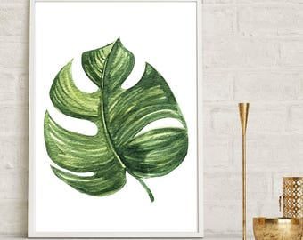 Monstera Leaf Wall Print, Tropical Print, Home Decor, Botanical Wall Print, Plant Leaf Print, Botanical Leaves, Prints, Home Green Room