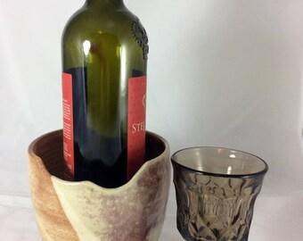 Pottery wine chiller, wine cooler, flower pot, utensil caddy, makeup brush holder, desk organizer, candy dish
