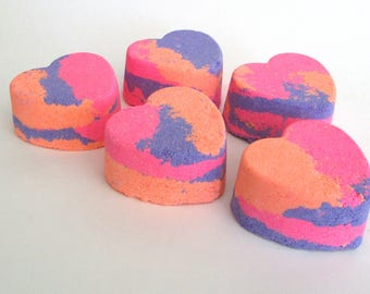 Five Jasmine Scented Heart Bath Bombs