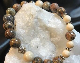 Leopardskin Jasper Woman's Gemstone Bracelet