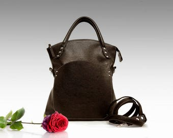 Brown folding leather bag medium size top handle zippered tote shoulder bag Fold-over purse leather crossbody women's handbag gift for her