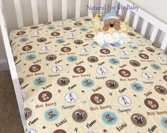 Cotton Fitted Crib Sheet Bambi Crib Sheet Animals Bedding Toddler Bambi  Bedding Timber Boy Girl Crib Sheet Changing Pad Cover