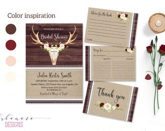 Marsala Bridal Shower Invitation Burgundy Pink Floral Rustic Wood Bridal Invite Deer Antlers Bridal Invitation Burlap Lace Invite - BS011