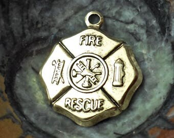 Vintage Set of 4 brass stamping gold plated fire department sign  charms pendant Vintage Jewelry Findings made in USA /U10