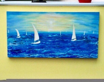 1  Modern Seascape painting abstract painting  original painting acrylic painting sailboats