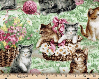 Cute Kittens,cats in a basket,w/yarn in Garden, Timeless Treasures