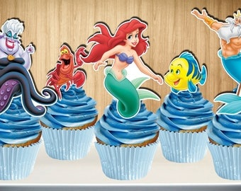 The Little Mermaid Cupcake Toppers, The Little Mermaid Cake Topper, The Little Mermaid Cupcake Pick, Cake Pop, Digital File, You Print