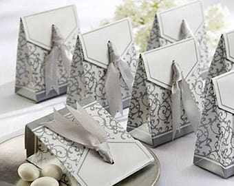 50Pcs Wedding Party Decoration Ribbon Candy Boxes for Wedding Birthday Favor Gifts Boxes DIY Candy Cookie Boxes