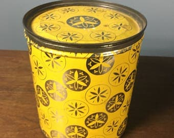 Vintage Retro Yellow and Silver Patterned Cylinder Food Tin Can Canister