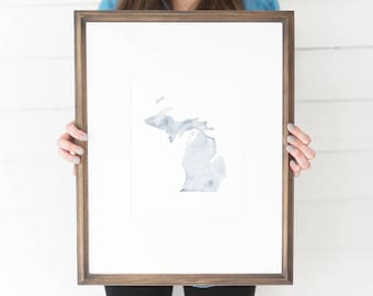 Michigan Watercolor, Michigan Print, Michigan Home, Michigan Wall Art, Michigan Painting, MI state, Michigan Wall Decor, Michigan, MI