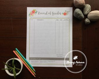 Printable Teacher / Parent / Homeschool Record of Grades Form - Tufted Titmouse Bird and Watercolor Roses